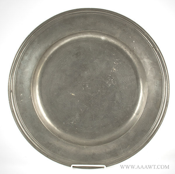 Antique Pewter Charger, Multi Reeded