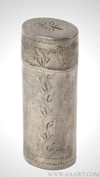 Pewter Cheroot Case, Cigar, Cigarillo Case, Sheffield, England, 1792 to 1805, entire view
