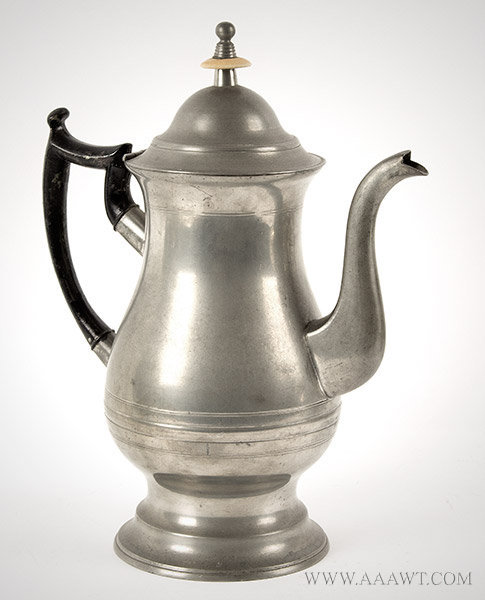 Pewter, Coffee Pot, Baluster Form, Roswell Gleason (1821 to 1871)