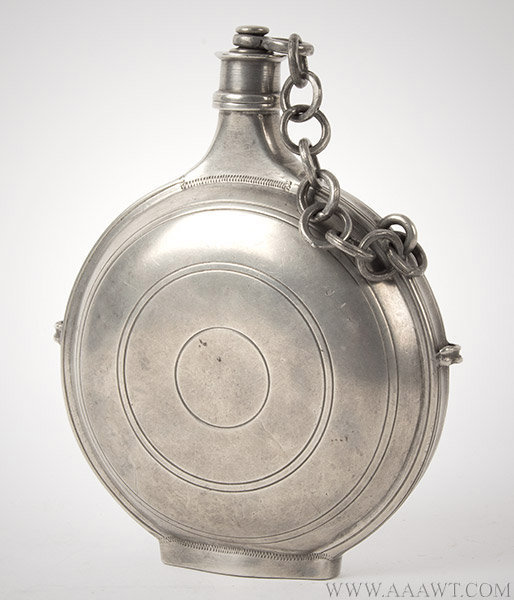 Antique Pewter Traveling Flask,