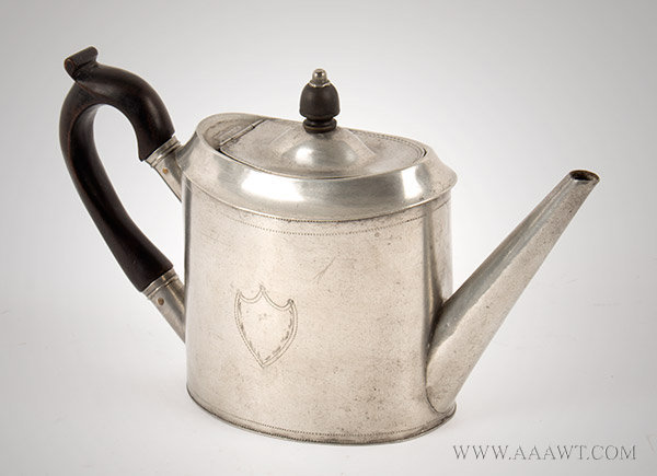 Pewter, Oval Teapot, Israel Trask, Straight Tapered Spout, Bright Cut Engraved