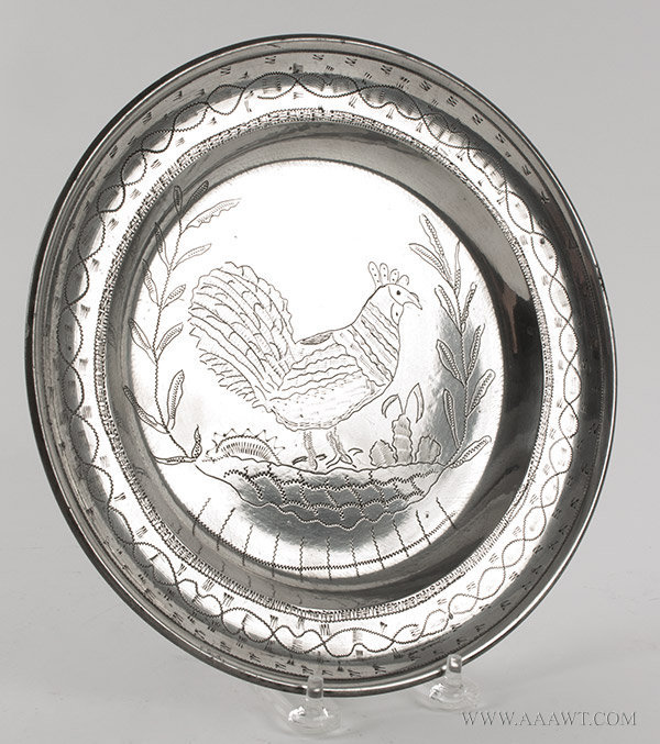 Antique Pewter, Marriage Plate with Wrigglework, Rim with Zigzag Design Centering Cockerel.