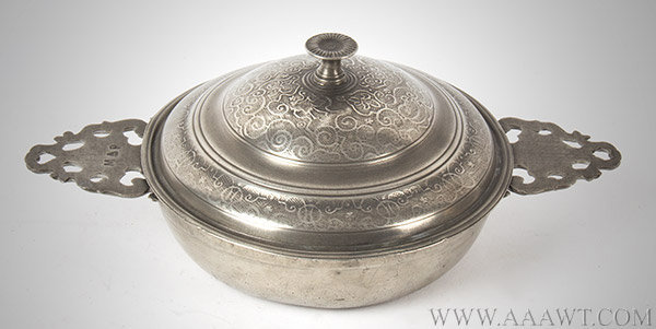 Antique Pewter Twin Eared Porringer Ecuelle, Rouen Control Marks Under Lid.