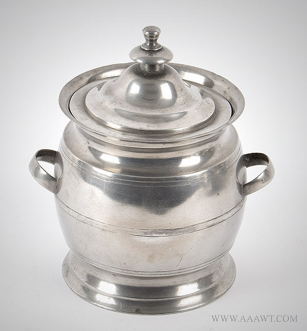 Pewter, Sugar Bowl, Rare Cafeteria Form, Strap Handles, George Richardson