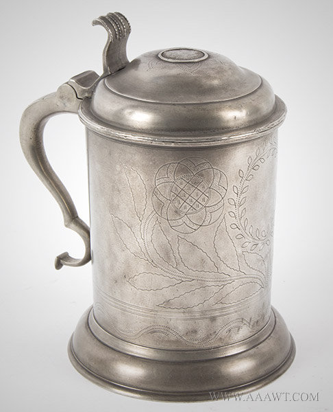 Pewter, Tankard, Wrigglework Decoration, Swiss, Coin Dated 1809 Set within Lid, entire view