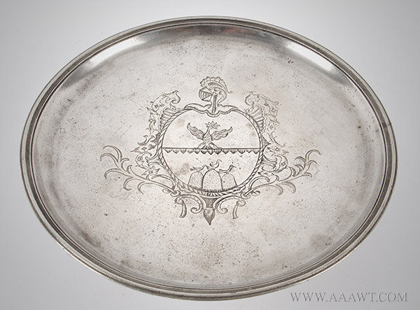 Pewter, Tazza, High Footed Plate, French Armorial, Marked by Carlo Perot, 10 1/8''