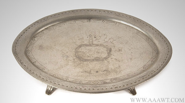 Pewter Teapot Stand, Unmarked, American or English, Late 18th Century, entire view