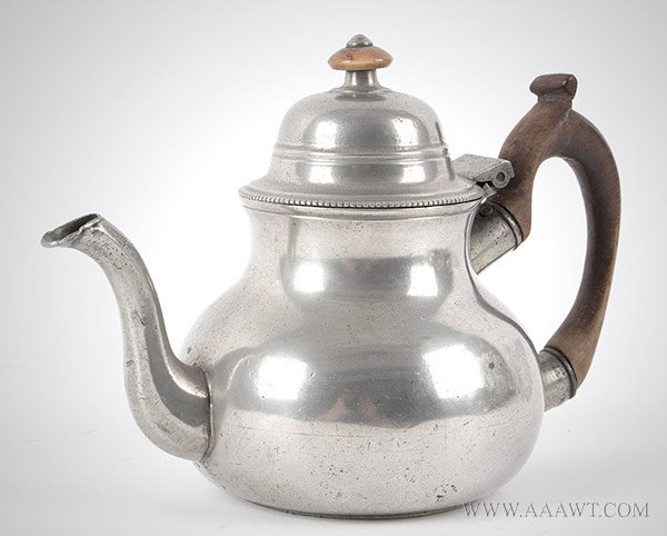 Antique Pewter, Teapot, Pear Shaped, Townsend & Compton,