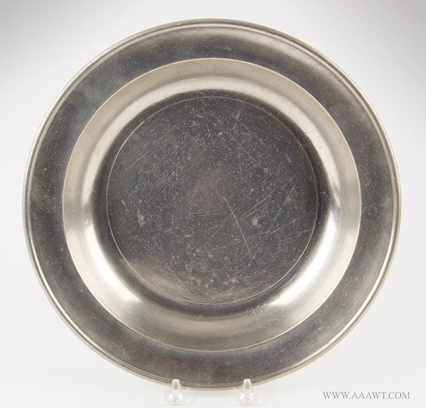 Antique Pewter Deep Dish, 11.5-inch diameter, Thomas Danforth III, 1777 to 1818, entire view