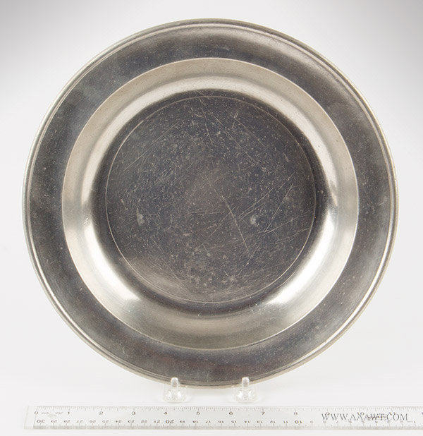Antique Pewter Deep Dish, 11.5-inch diameter, Thomas Danforth III, 1777 to 1818, with ruler for scale