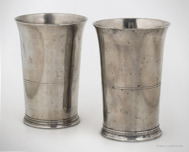 Antique Pair of Five Inch Pewter Beakers by T. Boardman, 1822 to 1824, pair view