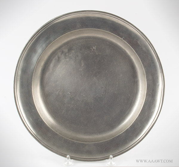 Antique Pewter Charger, Gershom Jones, Rhode Island, 1774 to 1809, entire view
