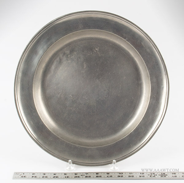 Antique Pewter Charger, Gershom Jones, Rhode Island, 1774 to 1809, with ruler for scale