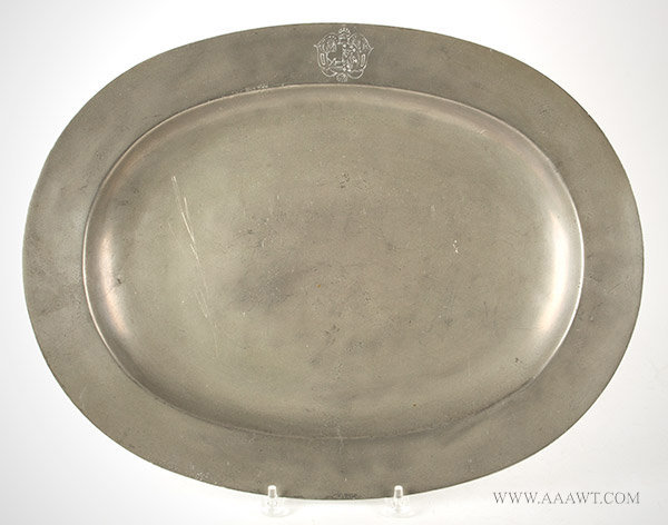 Antique Pewter Oval Charger with Coat of Arms by Samuel Duncomb, England, 1740 to 1780, entire view
