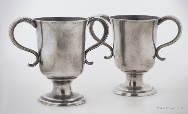 Antique Pair of 19th Century Footed Pewter Cups, Attributed to Boardman's, pair view 1