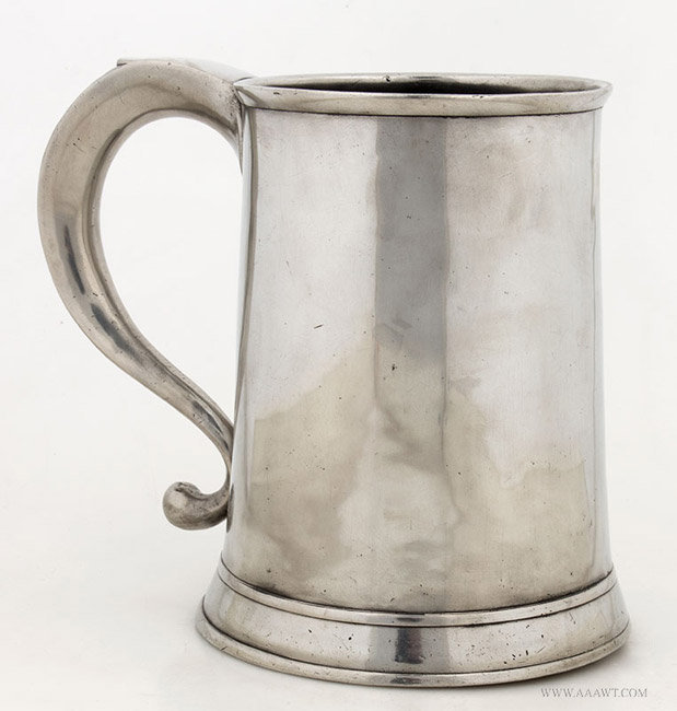 Antique Quart Pewter Mug by Thomas Danforth III, 19th Century, entire view