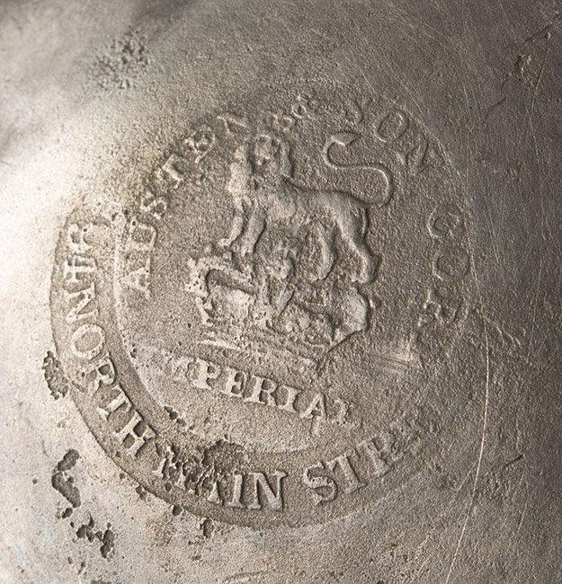 Antique Pewter Pint Haystack Measure, Ireland, 19th Centur, mark detail
