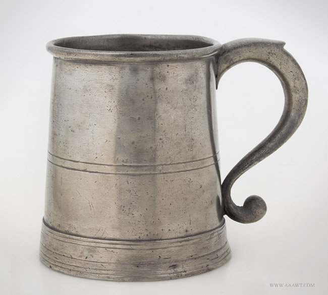 Antique Pewter Pint Mug by Boardman and Hart, New York, entire view