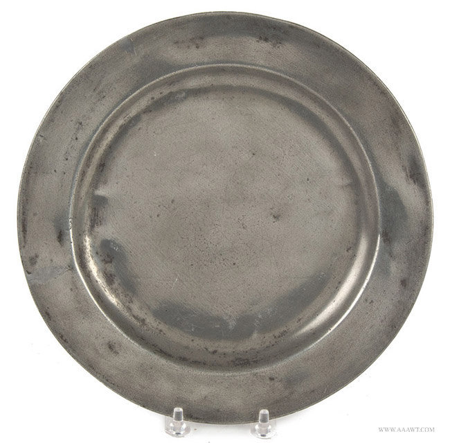 Antique Pewter Plain Rim Plate by Aquila Daskombe, English, entire view