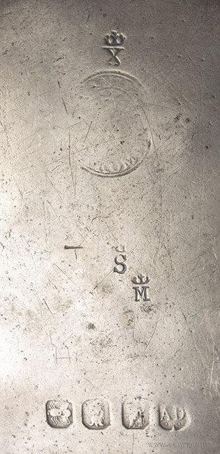 Antique Pewter Plain Rim Plate by Aquila Daskombe, English, marks detail