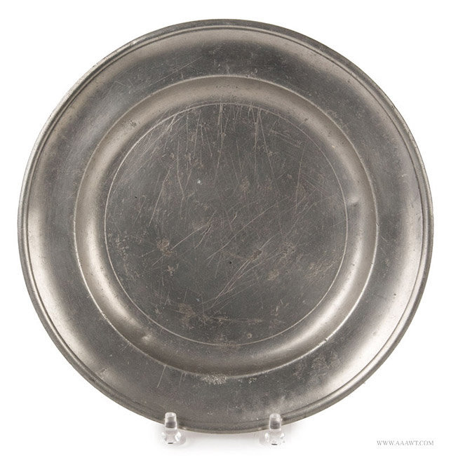 Antique Pewter Single Reed Plate by Joseph Danforth, American, entire view