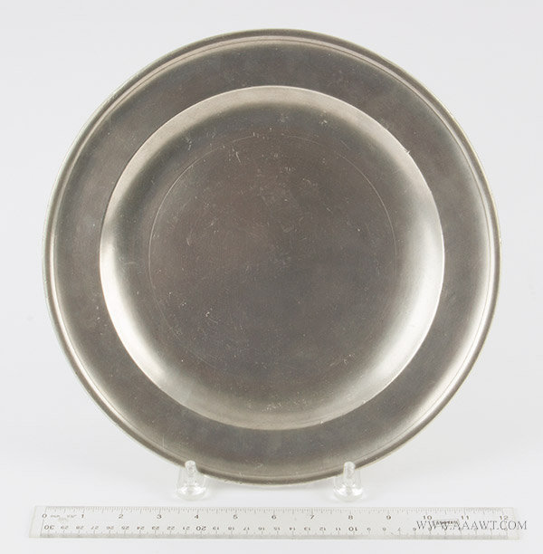 Antique Pewter Plate, 12-inch diameter, Thomas Danforth Boardman, Connecticut, 1805 to 1850, with ruler for scale