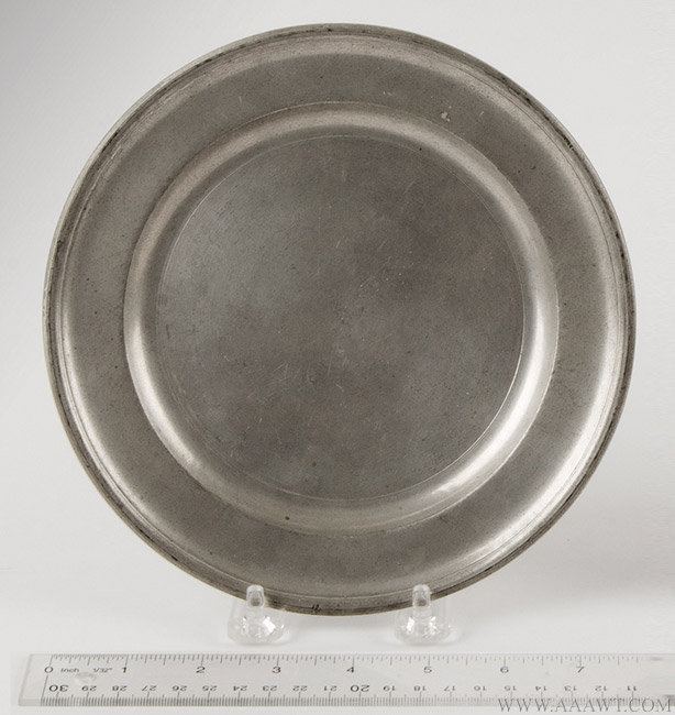 Antique Pewter Plate, 8-inch diameter, Edward Danforth, Circa 1788 to 1794, with ruler for scale