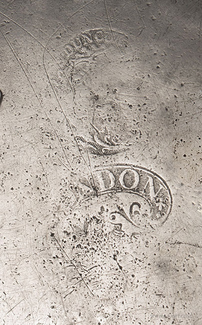 Antique Pewter Plate by Stynt Duncombe, English, marks detail