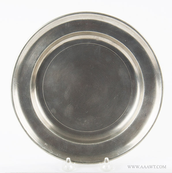 Antique Pewter Plate, 9-inch diameter, Joseph Danforth Sr., Connecticut, entire view