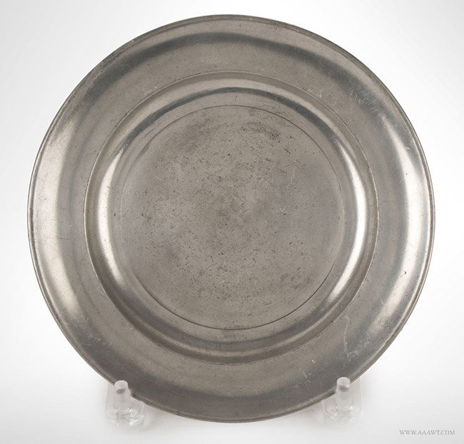 Antique Pewter 'LOVE' Plate, American, 18th Century, entire view
