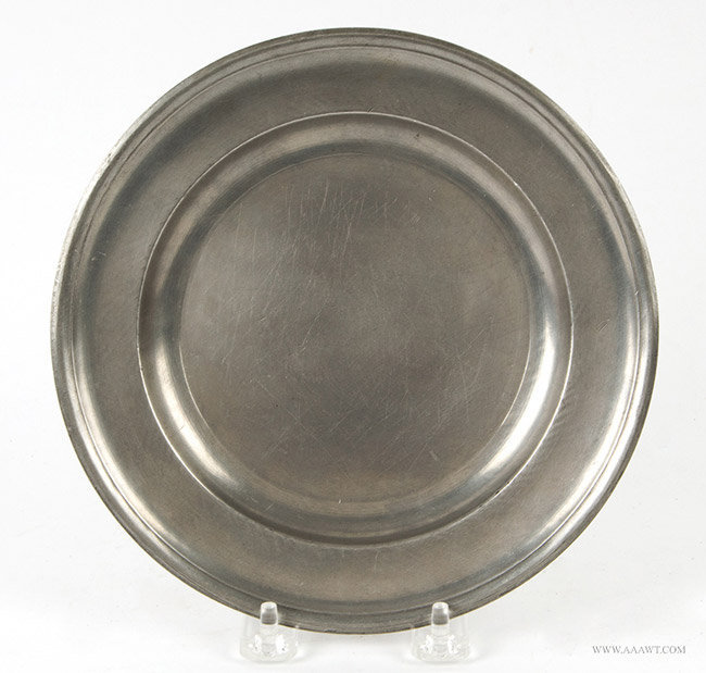 Antique Pewter Plate, 8-inch diameter, Samuel Danforth, Circa 1795 to 1816, entire view