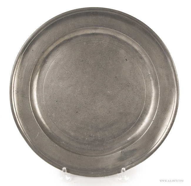 Antique Pewter Single Reed Plate by Nathaniel Austin, Massachusetts, entire view