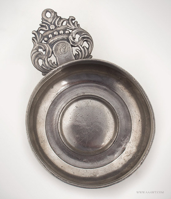Antique Pewter Porringer by Boardman and Co., New York, entire view