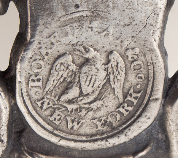 Antique Pewter Porringer by Boardman and Co., New York, mark detail