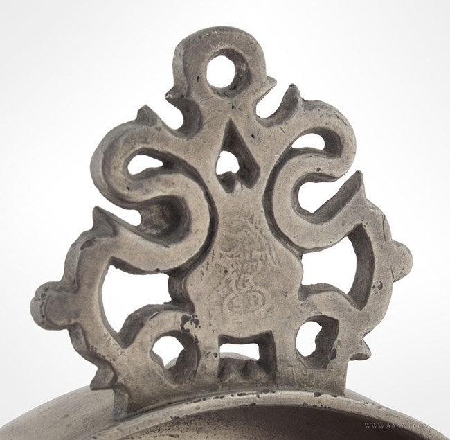 Antique Pewter Porringer Signed Danforth, American, handle and mark detail