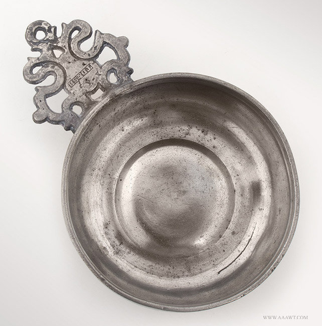 Antique Pewter Porringer by Thomas and Sherman Boardman, Circa 1810 to 1830, entire view