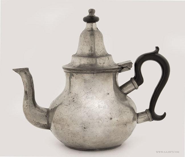 Antique Pewter Queen Anne Cast Teapot, 19th Century, entire view