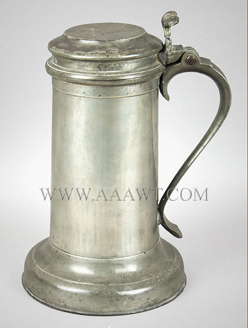 Antique Pewter Beefeater Flagon, Lid with Twin Cusp Thumbpiece By Francis Seagood (Touch mark inside of base; other marks on lid)