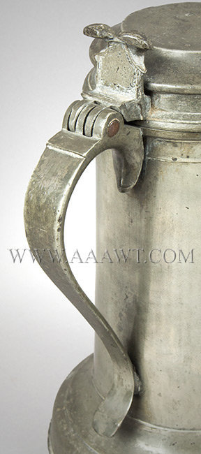 Antique Pewter Beefeater Flagon, Lid with Twin Cusp Thumbpiece By Francis Seagood handle