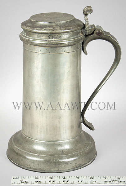 Antique Pewter Beefeater Flagon, Lid with Twin Cusp Thumbpiece By Francis Seagood ruler