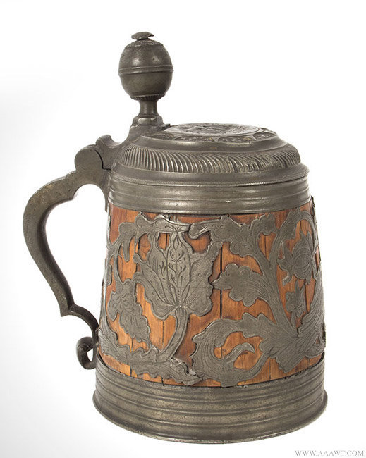 Antique Pewter Mounted Staved Lidded Tankard, Continental, 18th Century, angle view 1