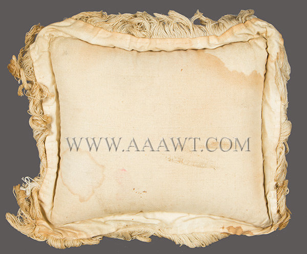 Antique Pincushion, Layette, 19th Century, Cotton Christening Pillow, rear view