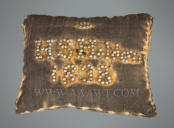 Antique Pincushion, H.S. Holden, Christening Pillow, side 1 view