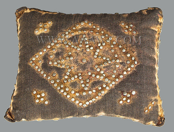 Antique Pincushion, H.S. Holden, Christening Pillow, side 2 view