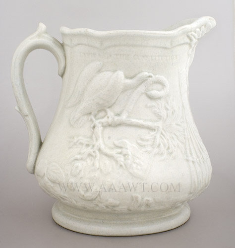 Ironstone Pitcher, Civil War Commemorative, Shooting of Col. Ellsworth Probably Millington and Astbury (Apparently Unsigned) Trenton, New Jersey Circa 1860 to 1865, entire view
