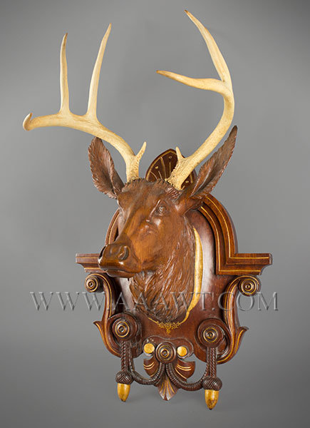 Antique Carved Deer Head on Plaque, Victorian, New York State, right angle view