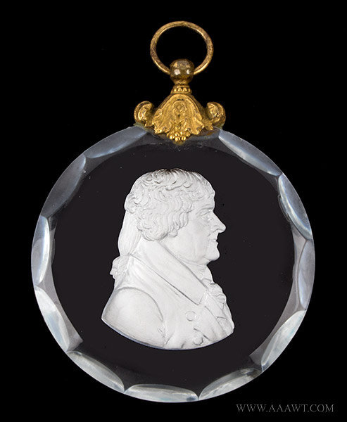 Thomas Jefferson Sulfide Cameo Plaque, Early 19th Century, entire view