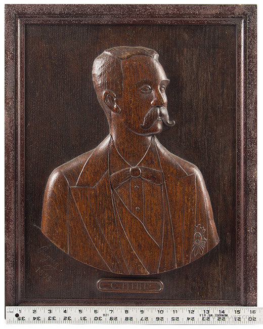 Antique Lot of Three Carved Oak Portrait Plaques by Beguin, 1895, with ruler for scale
