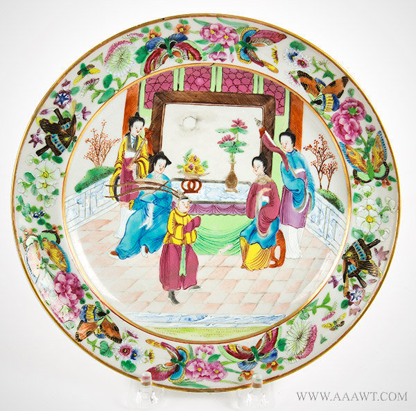 Porcelain, Chinese Export Armorial Dish, Plate, Arms of Colvil, Colville