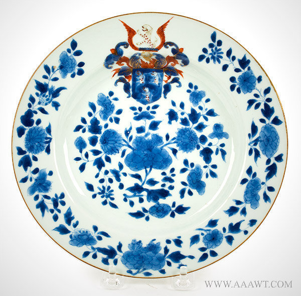 Porcelain, Chinese Export Armorial Dish, Arms of Sir Robert Newman, Rare